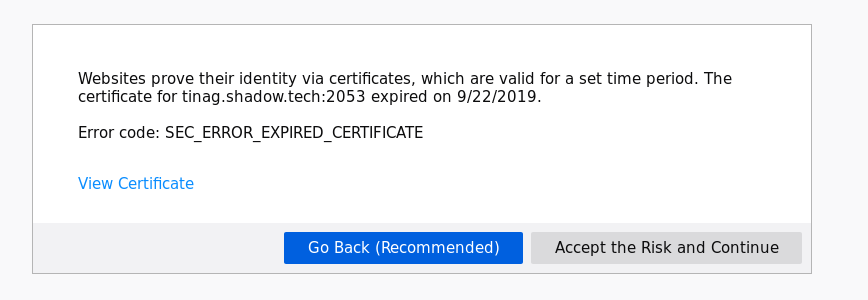 Firefox showing that certificate has expired today